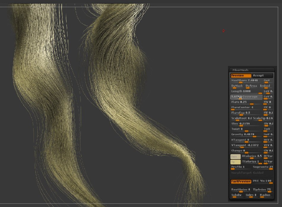 ZBrush FiberMesh long combed curly hair settings