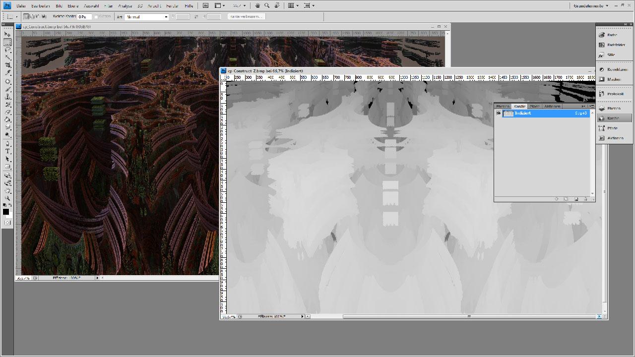 Farb- und Z-Buffer Bild in Photoshop geöffnet