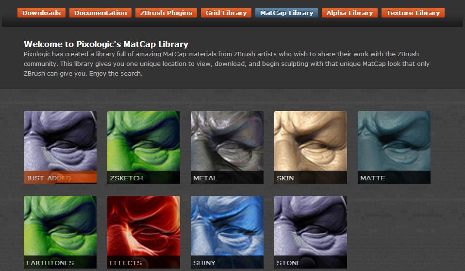 ZBrush MatCap Material Kategorien