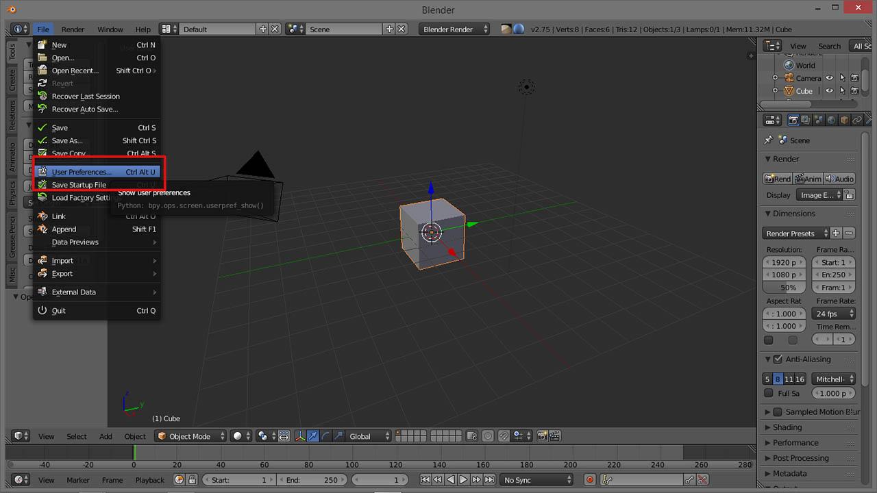 Blender to User Preferences