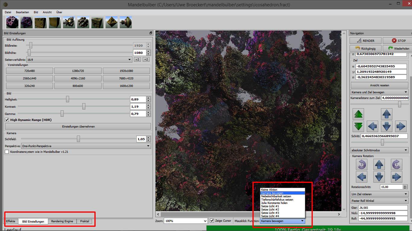 Mandelbulber V2 Screenshot 5 Bild Kamera und Licht