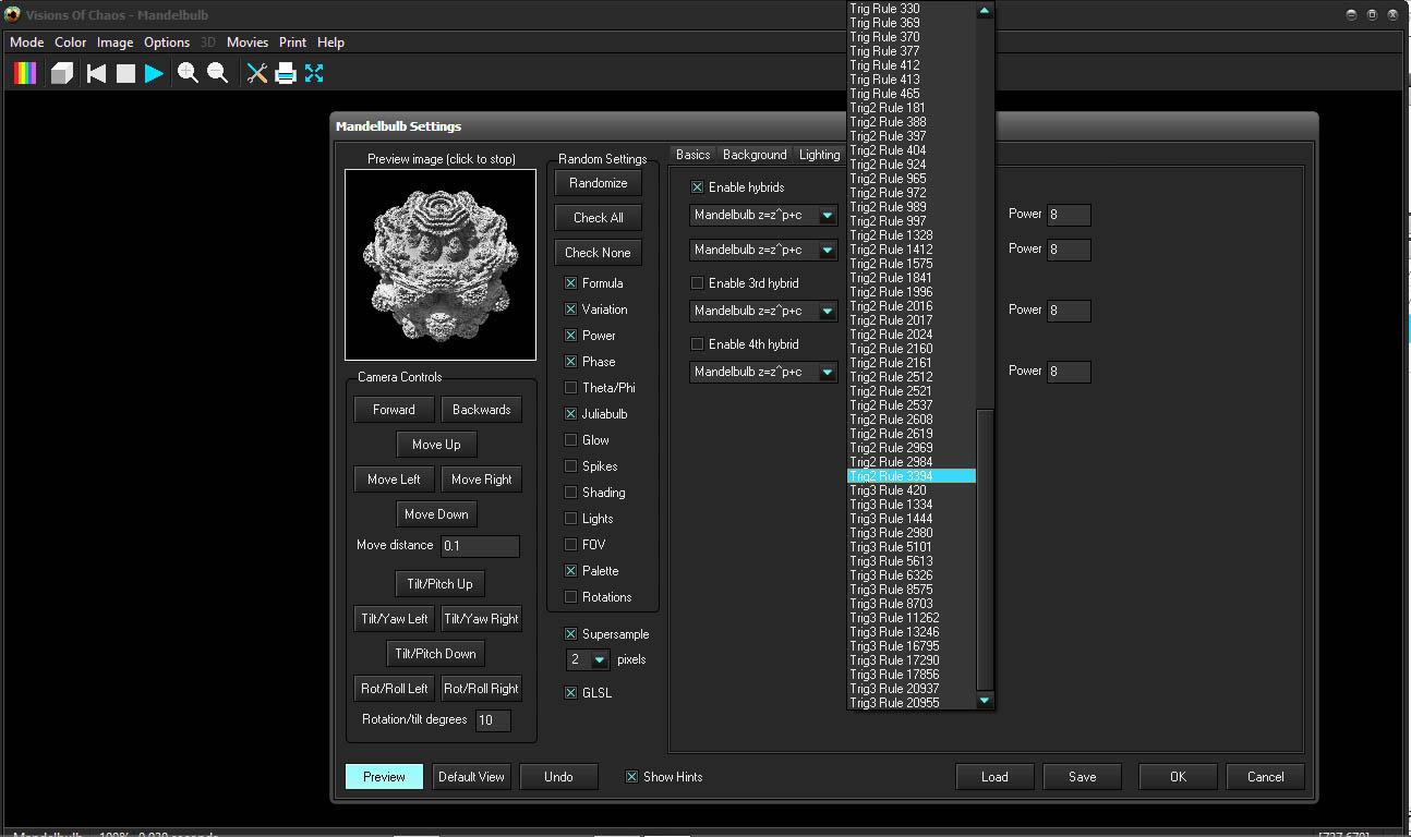 Visions of Chaos 3D Mandelbulb Hybrid Settings Screenshot2