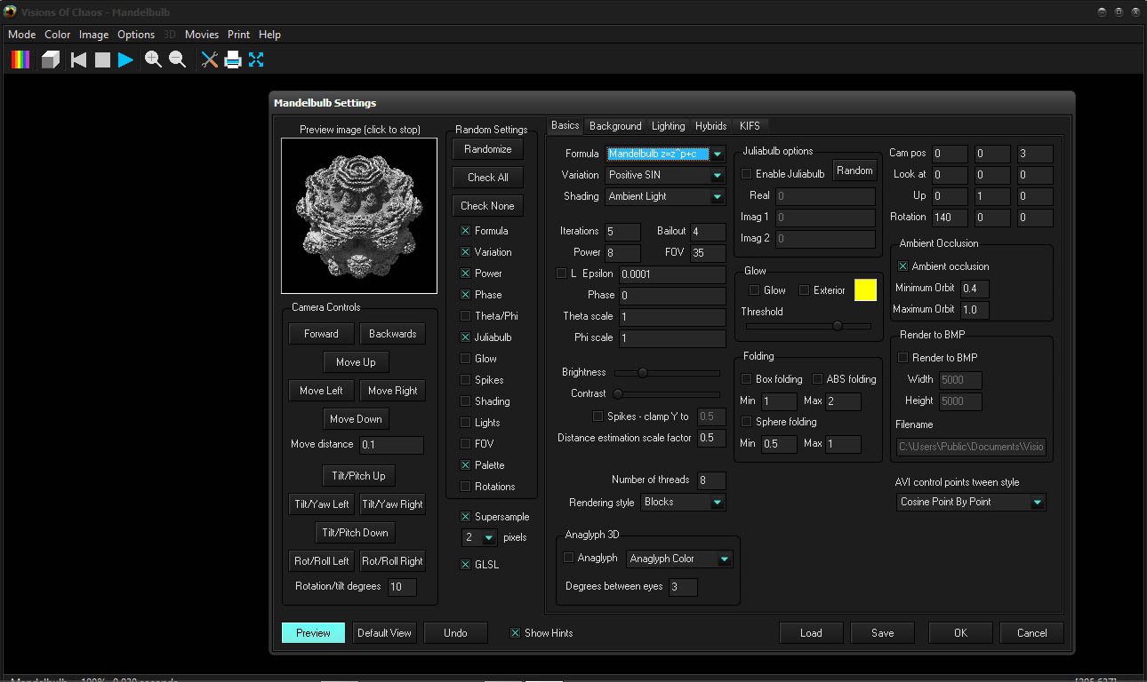 Visions of Chaos 3D Mandelbulb Settings Screenshot