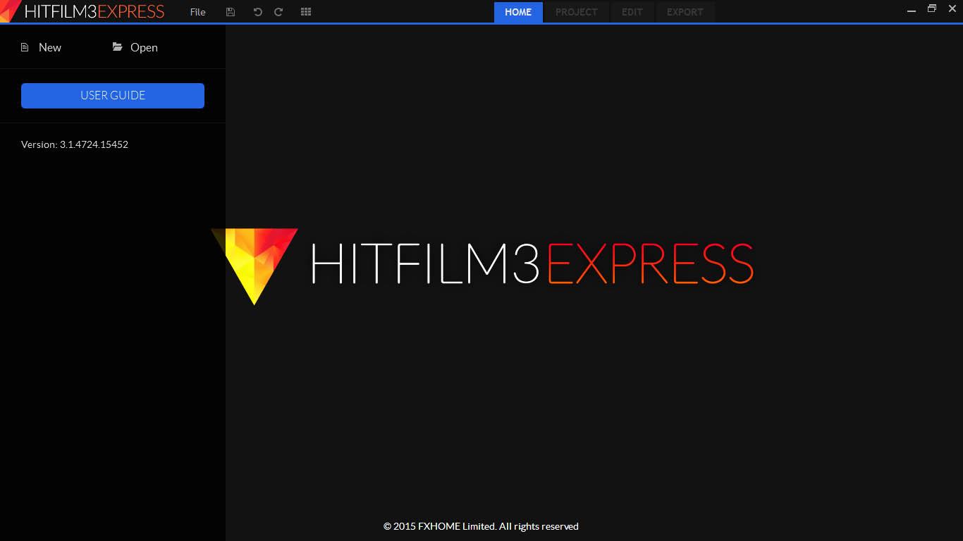 HitFilm 3 Express Startbildschirm