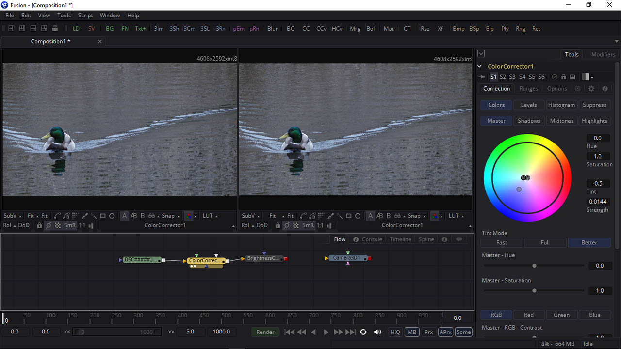 Blackmagic Design Fusion Color Correct Screenshot
