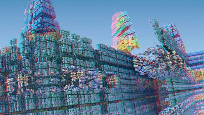 Red/Cyan Stereoscopic CGI Mandelbulb City 3