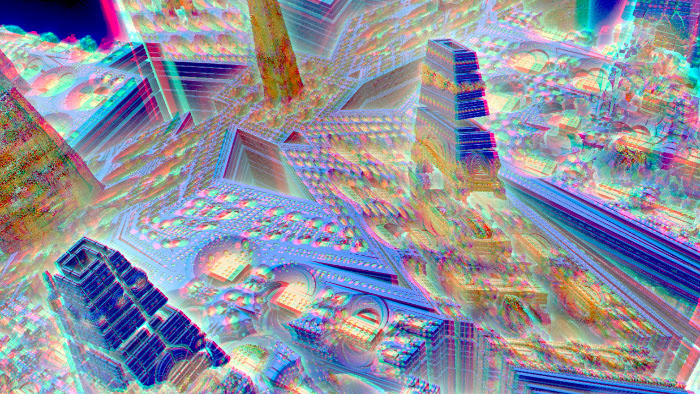Red/Cyan Stereoscopic CGI Mandelbulb 3d City 4