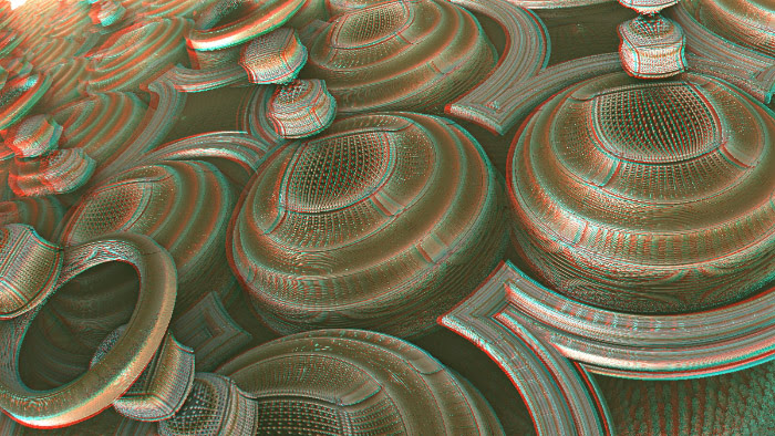 Red/Cyan Stereoscopic CGI Mandelbulb Chess Pagoda