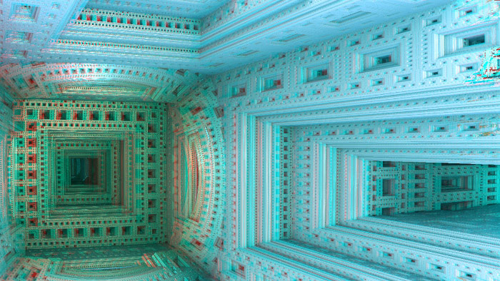 Red/Cyan Stereoscopic CGI Left Room