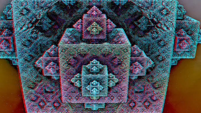 Red/Cyan Stereoscopic CGI Mandelbulb block out