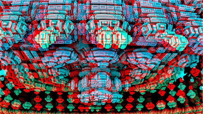 Red/Cyan Stereoscopic CGI Menger City