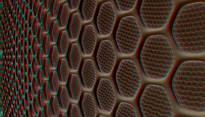 Red/Cyan Stereoscopic CGI Waben