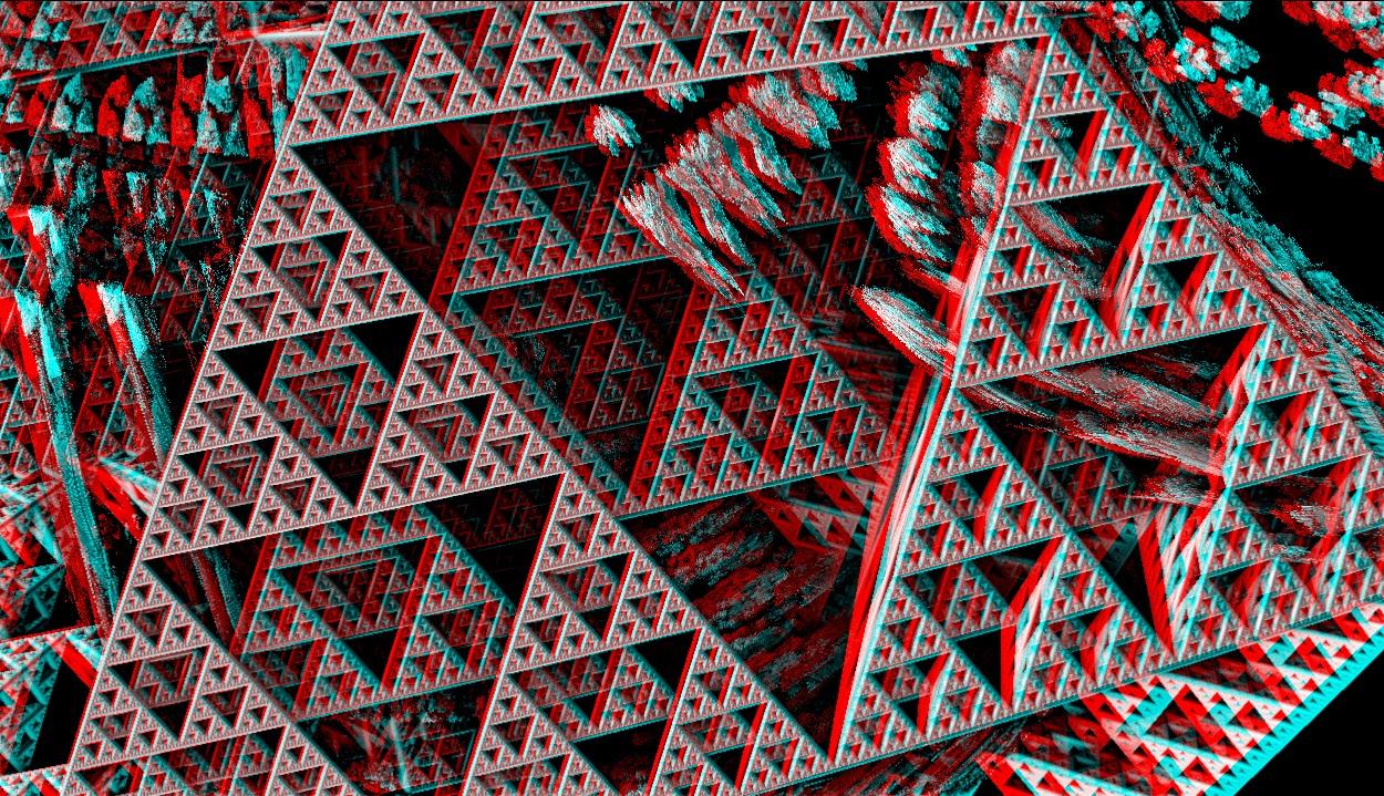 Red/Cyan Stereoscopic CGI Mandelbulb 3d See Sierpinski