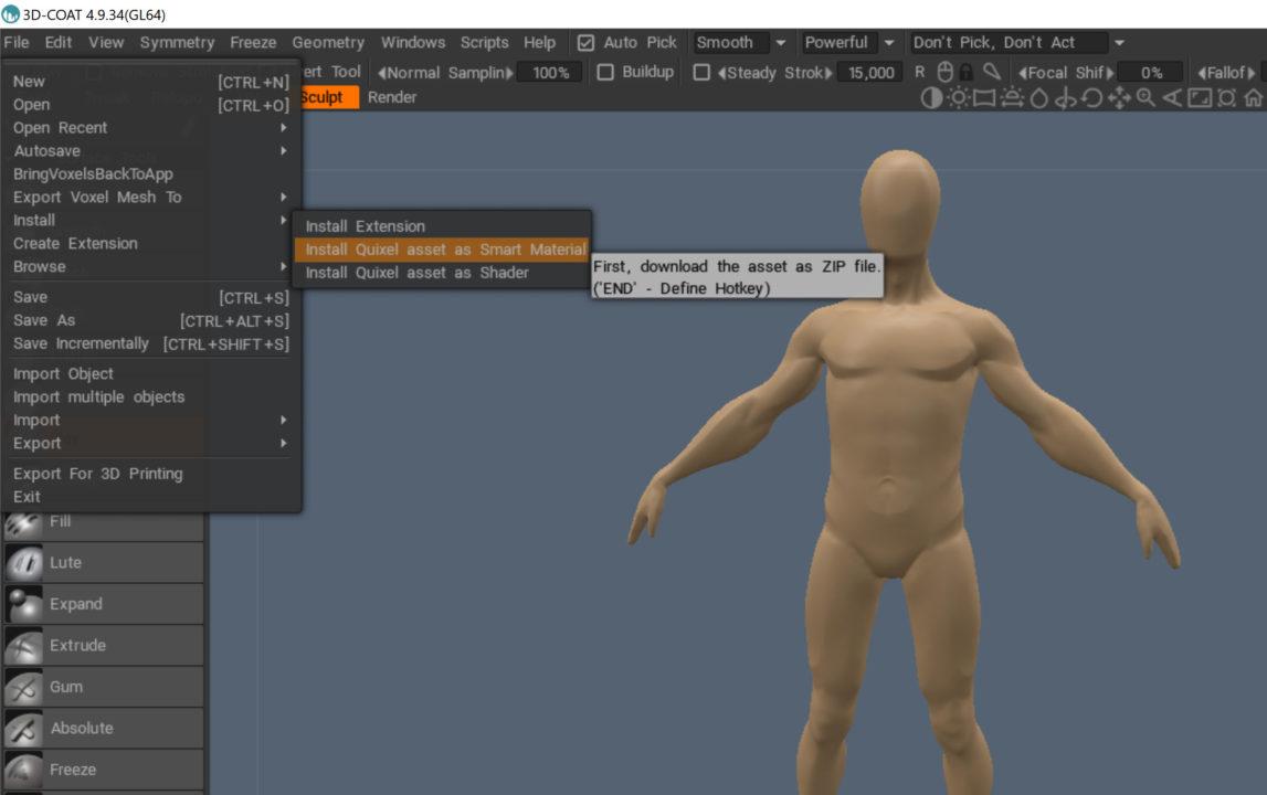 3D Coat Imoprt Quixel Megascans als .zip