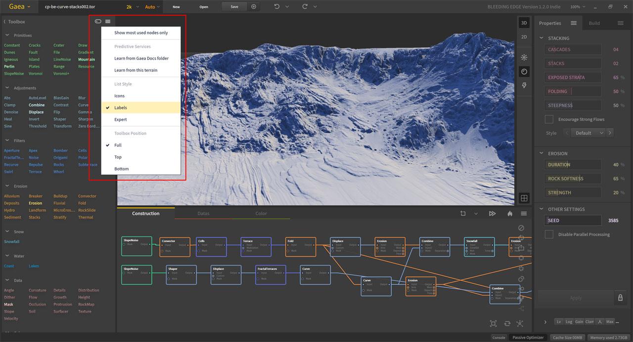 Quadspinner Gaea Bleeding Edge 1.2.0.0 Oberfläche und Layout