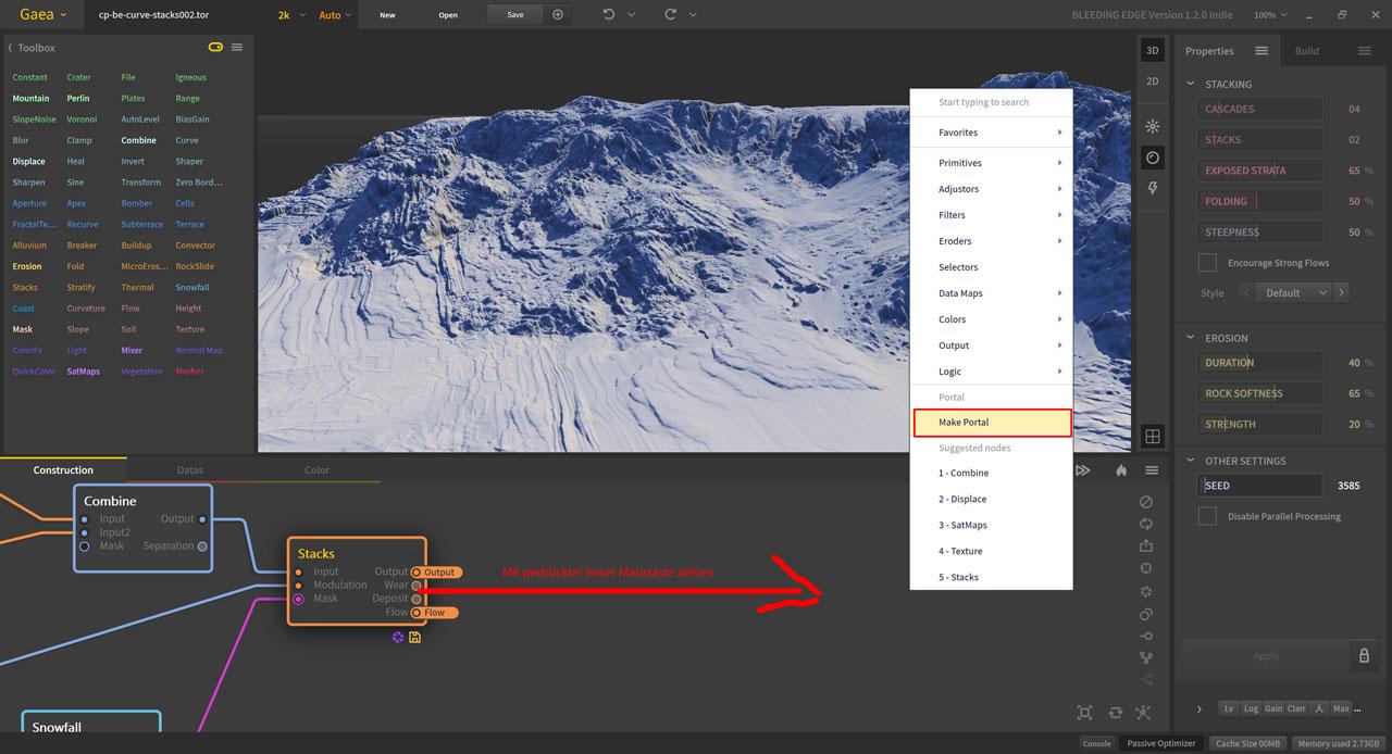 Quadspinner Gaea Bleeding Edge 1.2.0.0 Portale erstellen