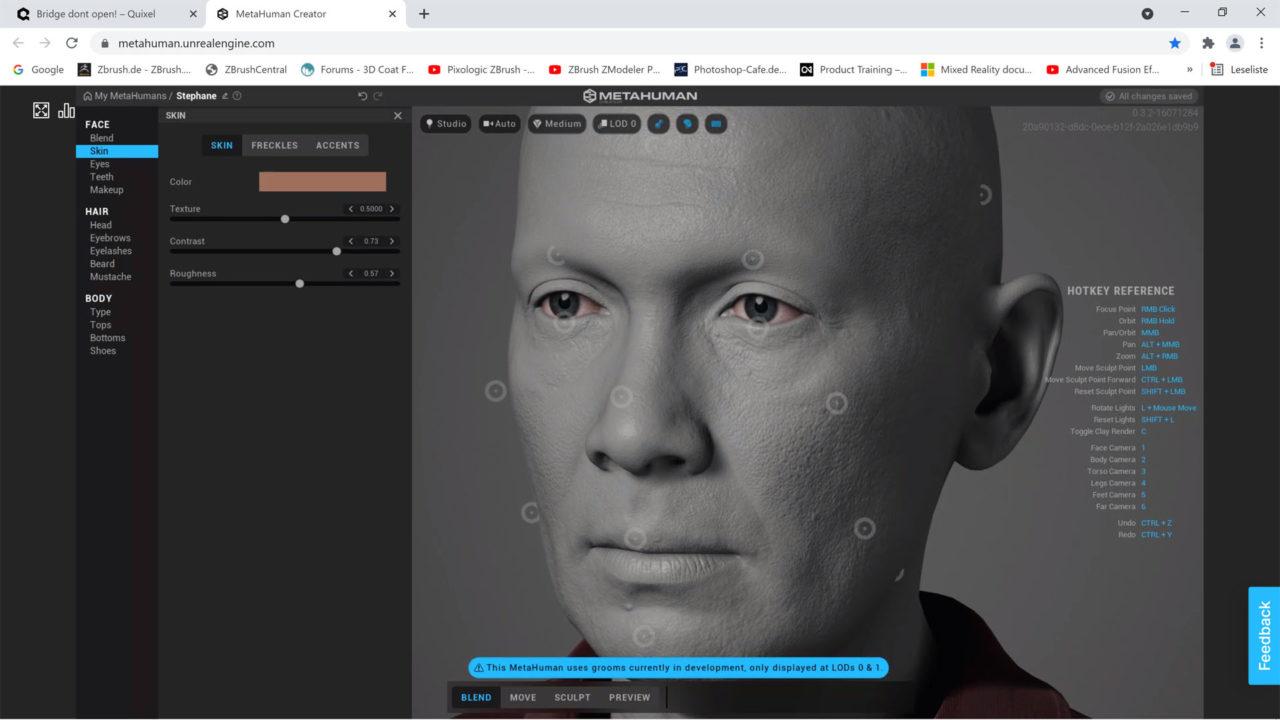 MetaHuman Creator Haut, Poren und Falten über Textur im Clay Modus