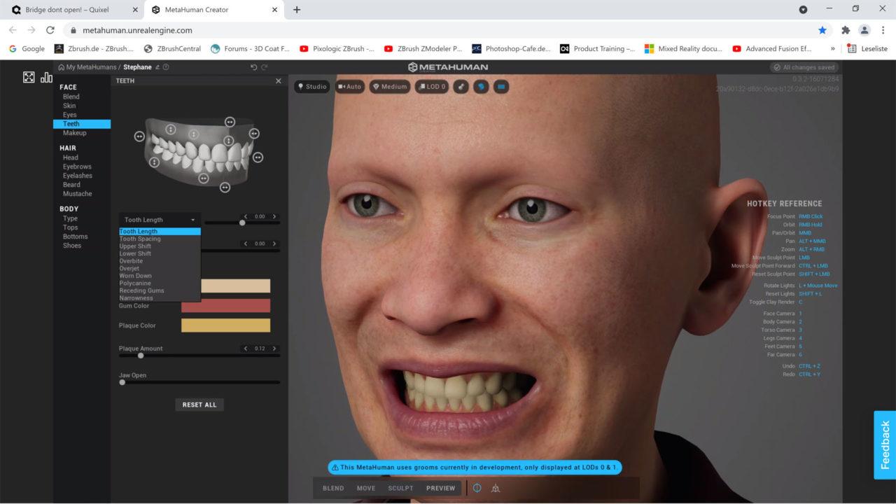 MetaHuman Creator Einstellungen für Zähne.