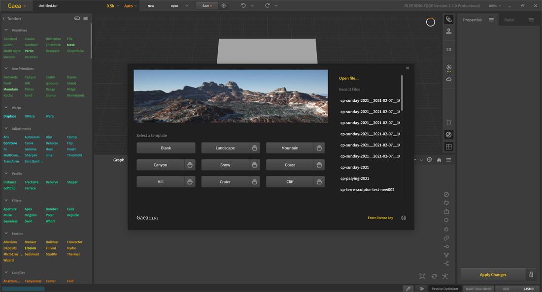Gaea-Bleeding-Edge-1.3.0.1 Startbildschirm